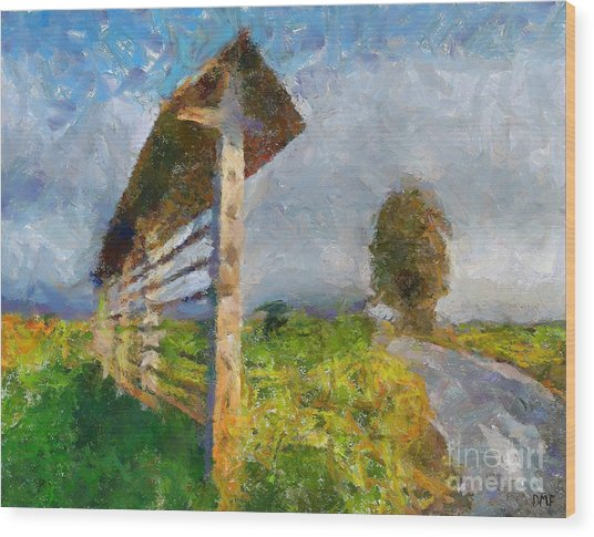 Country Road With Hayrack Wood Print