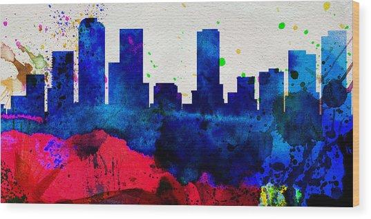 Denver City Skyline Wood Print