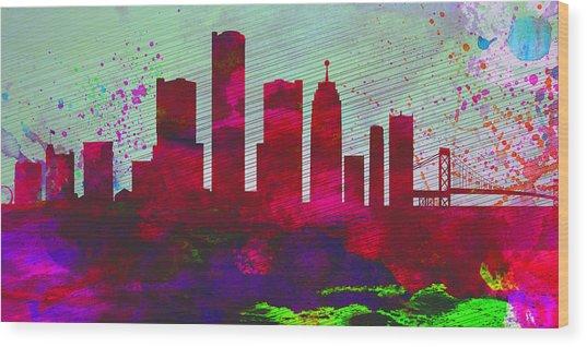 Detroit City Skyline Wood Print