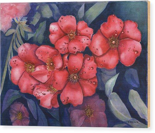 Dew Flowers Wood Print