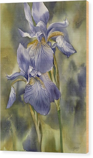 Double Blue Irises Wood Print by Alfred Ng