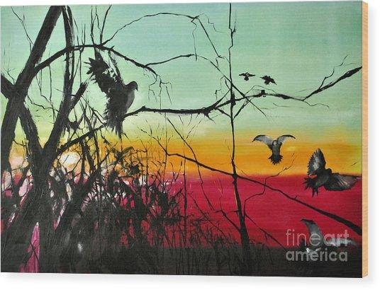 Doves At The Dawn Wood Print