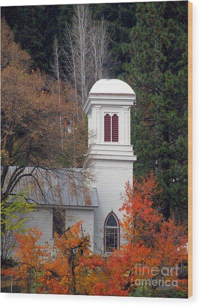 Downieville Church Wood Print