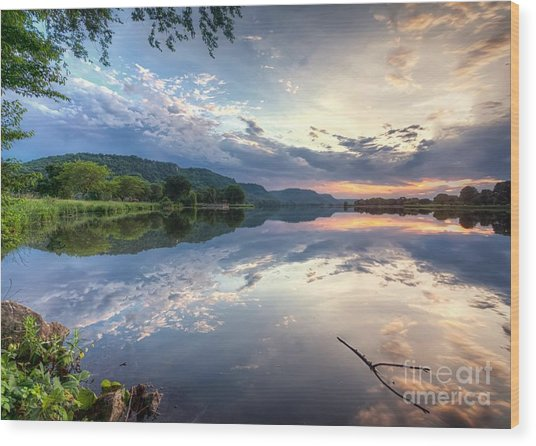 Wood Print featuring the photograph  East Lake Sunset by Kari Yearous