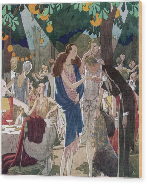 Fashionable People In An Open- Air Wood Print by Mary Evans Picture Library