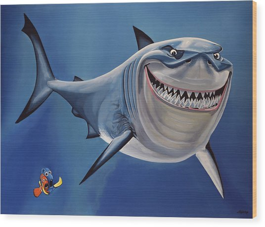 Finding Nemo Painting Wood Print