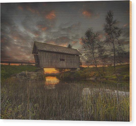 Foster Covered Bridge Sunset Wood Print