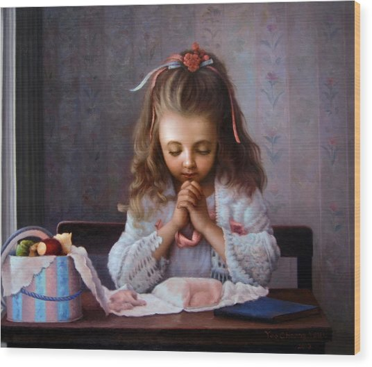 Girl's Prayer Wood Print