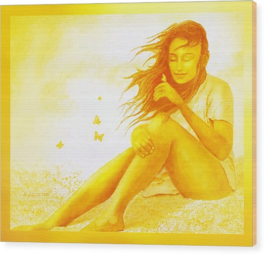 Golden  Butterfly  Girl Wood Print