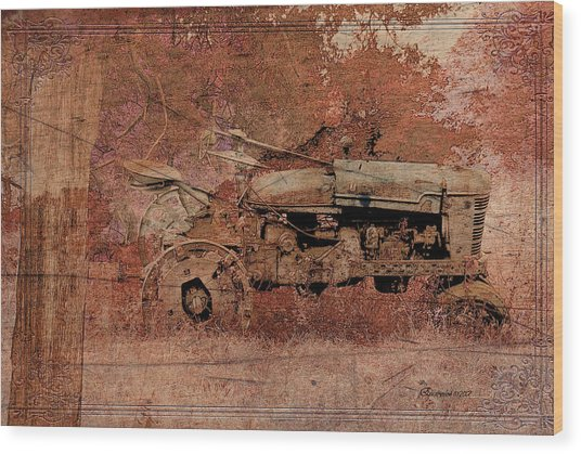Grandpa's Old Tractor Wood Print