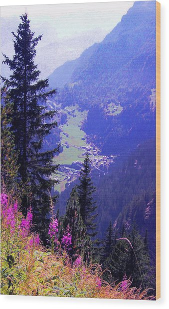 High Mountain Pastures Wood Print