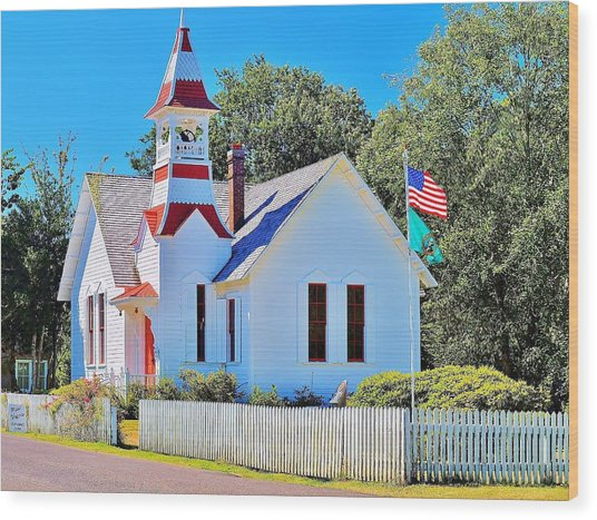Historic Oysterville Church Wood Print