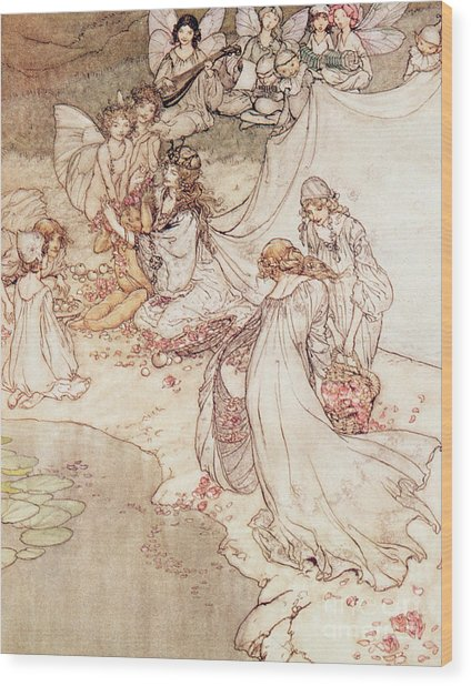 Illustration For A Fairy Tale Fairy Queen Covering A Child With Blossom Wood Print