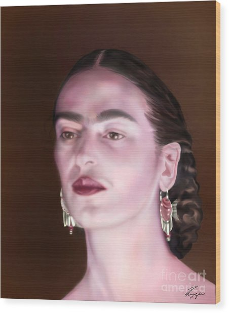 In The Eyes Of Beauty - Frida Wood Print