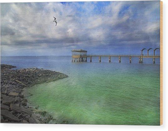 Jekyll Island Fishing Pier Wood Print