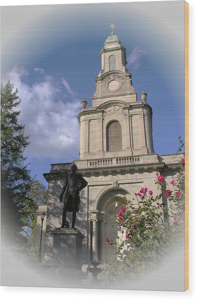 Lafayette College Easton - Roses For The Marquis Wood Print by Jacqueline M Lewis