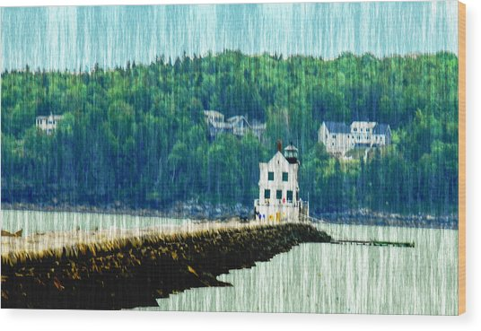 Light House Maine Wood Print