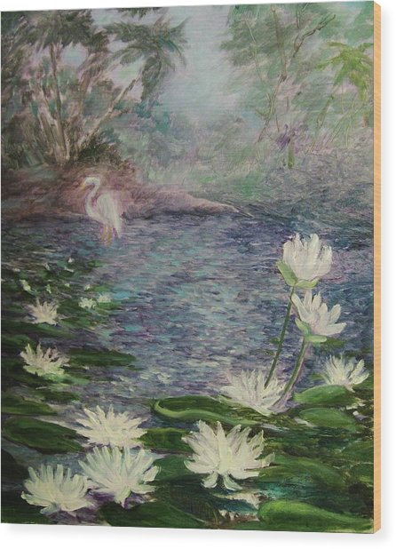 Lilies  Of  The  Pond Wood Print