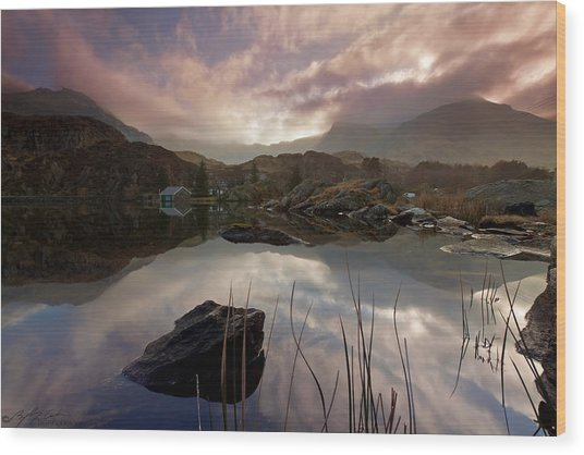 Llyn Ogwen Sunset Wood Print