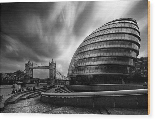 London City Hall And Tower Bridge.  Wood Print