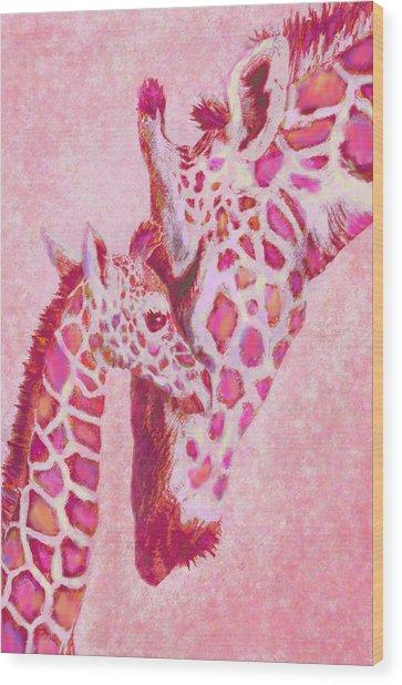 Loving Pink Giraffes Wood Print
