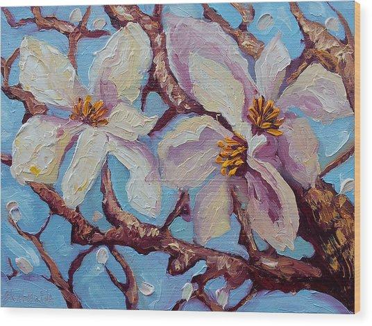 Magnolia Flower Painting Oil On Canvas Fine Art By Ekaterina Chernova  Wood Print