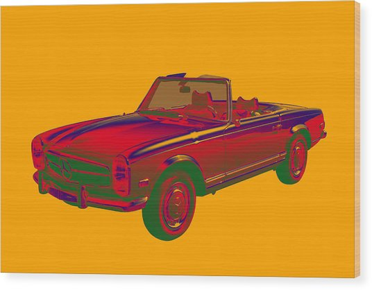Mercedes Benz 280 Sl Convertible Pop Art Wood Print