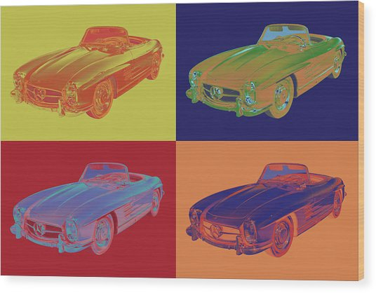 Mercedes Benz 300 Sl Convertible Pop Art Wood Print
