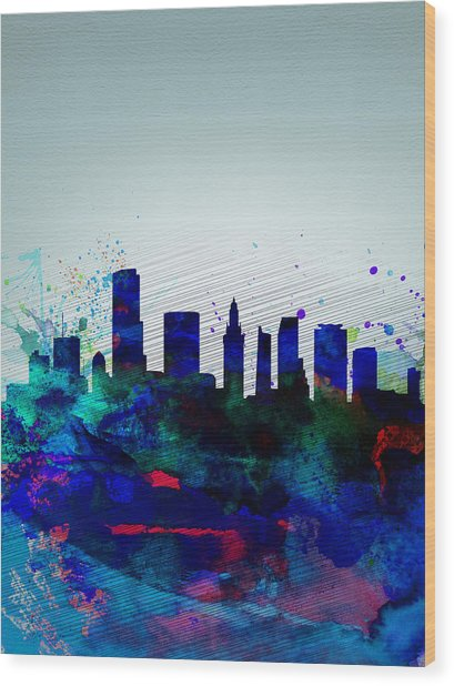 Miami Watercolor Skyline Wood Print