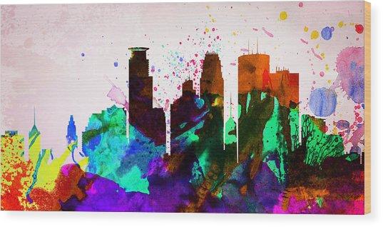 Minneapolis City Skyline Wood Print
