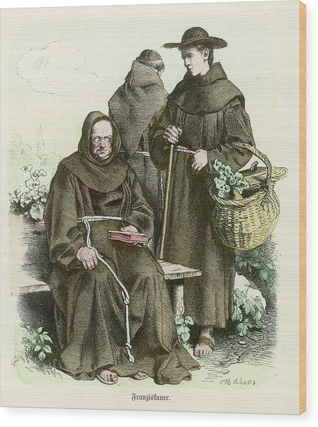 Monks Of The Order Of  Saint Francis Wood Print by Mary Evans Picture Library