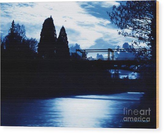Montlake Bridge In Seattle Washington At Dusk Wood Print