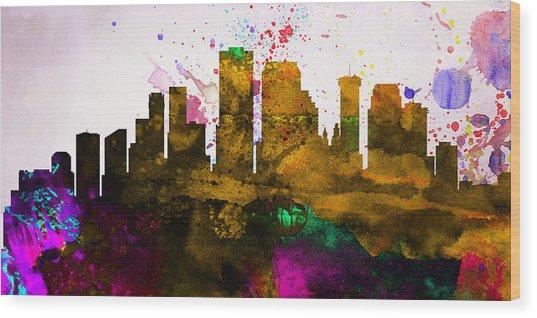 New Orleans City Skyline Wood Print