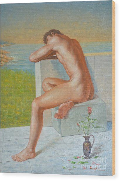 Original Classic Oil Painting Man Body Art  Male Nude And Vase #16-2-4-09 Wood Print