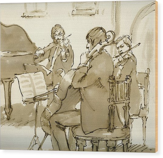 Original Pen And Ink Drawing Three Musicians In Concert Wood Print