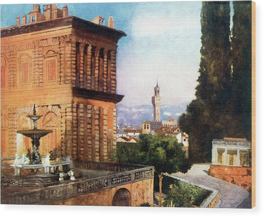 Palazzo Pitti  And Boboli Gardens Wood Print by Mary Evans Picture Library