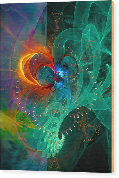 Parallel Reality - Colorful Digital Abstract Art Wood Print