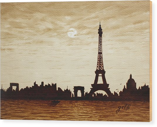 Paris Under Moonlight Silhouette France Wood Print