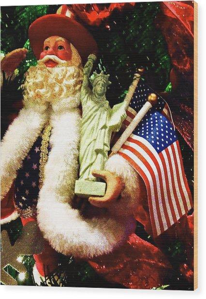 Patriotic Santa Wood Print