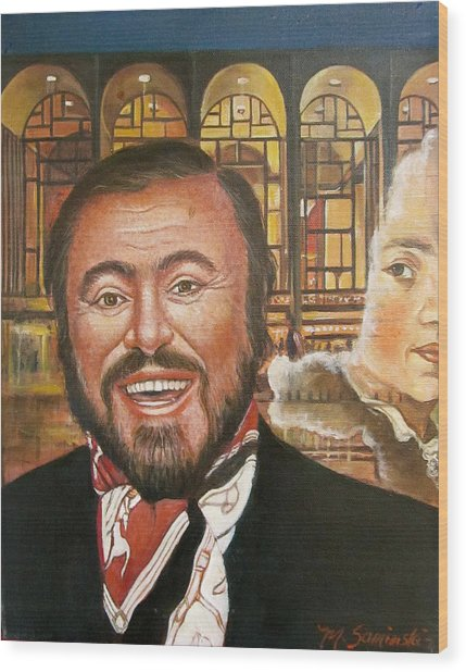 Pavarotti And The Ghost Of Lincoln Center Wood Print