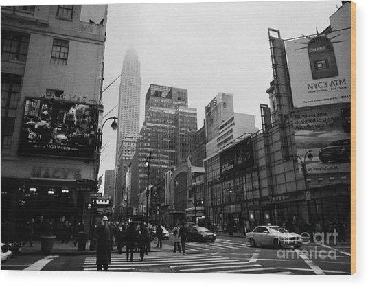 Pedestrians Crossing Crosswalk Outside Macys 7th Avenue And 34th Street Entrance New York City Wood Print by Joe Fox