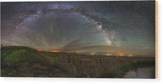Pinnacles Overlook At Night Wood Print