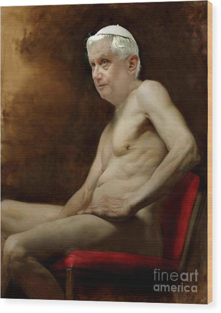 Pope Benedict Seated Nude Wood Print
