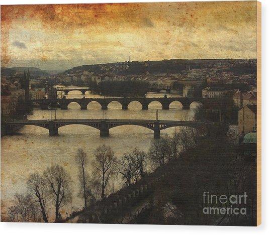 Vintage Prague Vltava River 1 Wood Print
