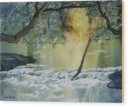River Esk In Full Flow Wood Print