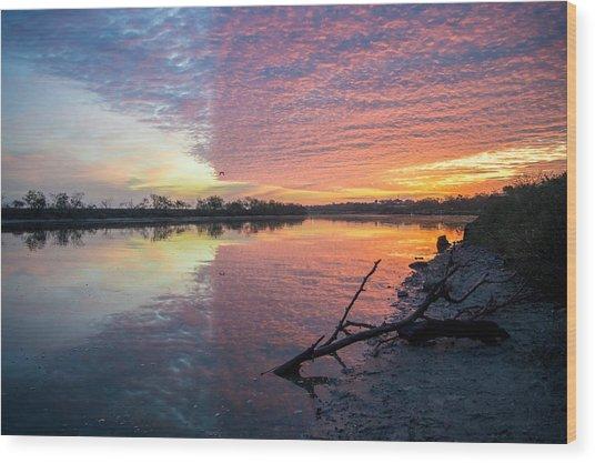River Glows At Sunrise Wood Print