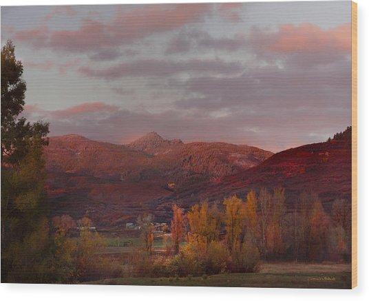 Rocky Peak Autumn Sunset Wood Print