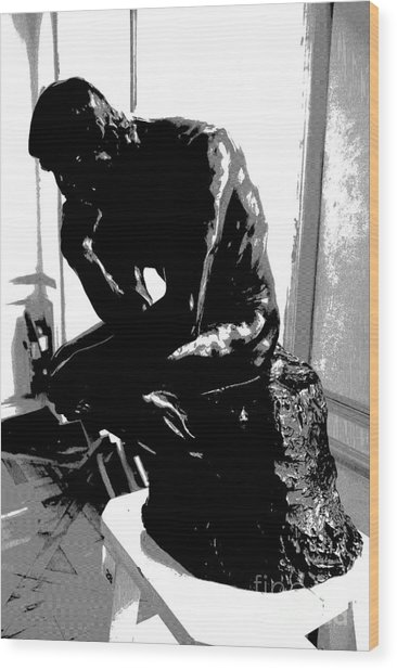 Rodin  -  The Thinker Wood Print by Jacqueline M Lewis