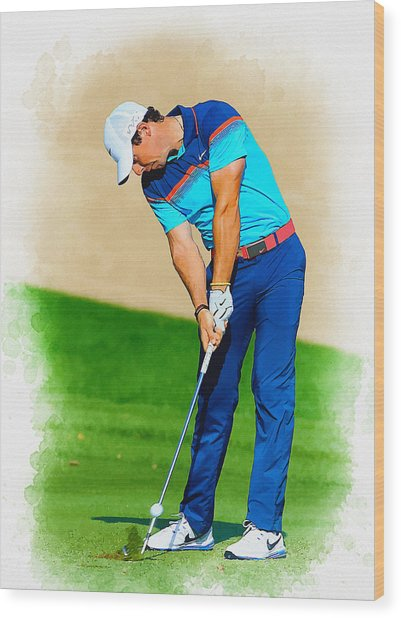 Rory Mcilroy Plays His Second Shot On The Par 4 Wood Print