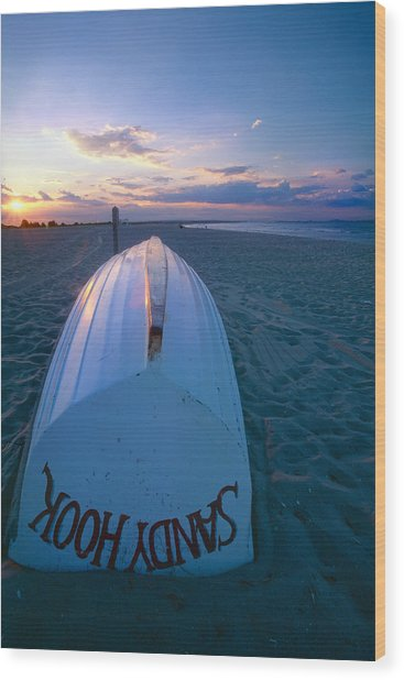 Sandy Hook Beach Sunset Wood Print by George Oze